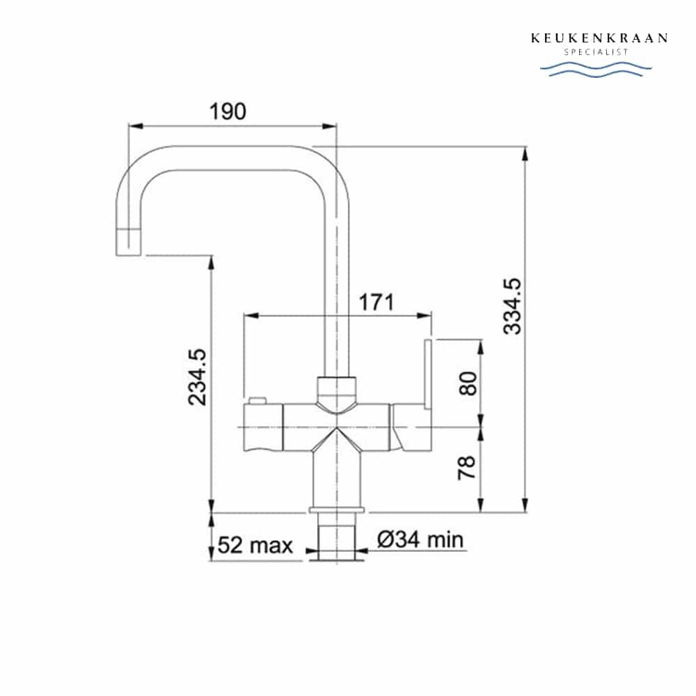 Franke Irena chroom 3 in 1 kokend water kraan met combi boiler