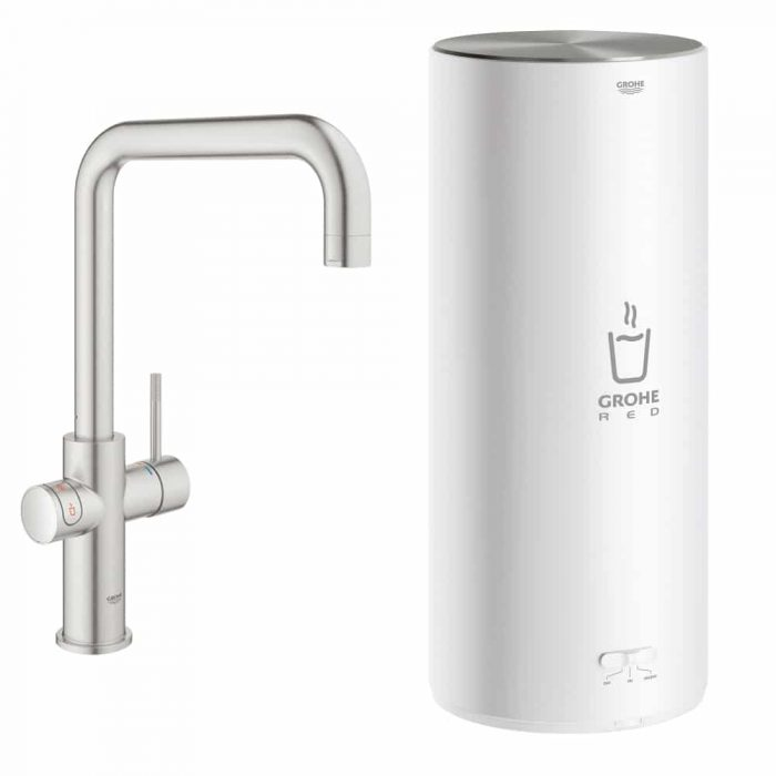 GROHE Red Duo Kokend water kraan Supersteel met U uitloop