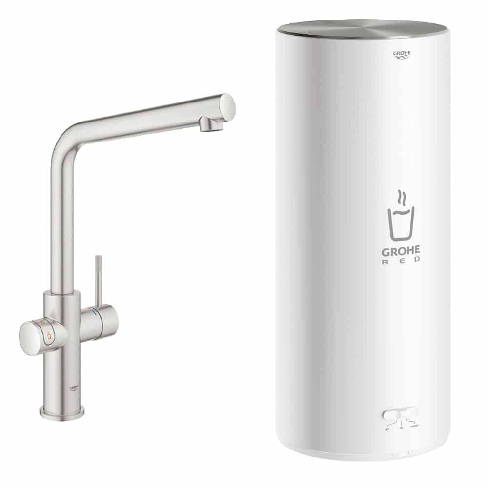 Grohe red duo supersteel kokend water kraan L uitloop